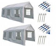 6m x 4m PE Grade Commercial Party Tent Marquee + Tie Down Kits (Qty 2)